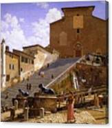 3 Christoffer Wilhelm Eckersberg     The Marble Steps Leading Up To Santa Maria In Aracoeli In Rome Canvas Print