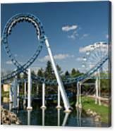 Cork-screw Rollercoaster And Ferris-wheel Canvas Print