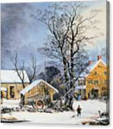 Currier & Ives Winter Scene Canvas Print