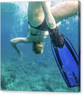 Female Snorkeling Canvas Print