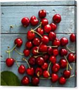Fresh Cherries On Wood Canvas Print