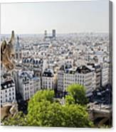 Gargoyle Guarding The Notre Dame Basilica In Paris Canvas Print