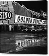 Golden Nugget Casino At Night In The Rain Las Vegas Nevada 1979 Canvas Print