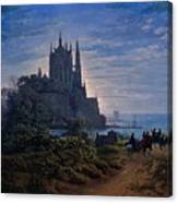 Gothic Church On A Rock By The Sea  Canvas Print