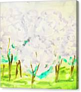 Hand Painted Picture, Spring Garden Canvas Print