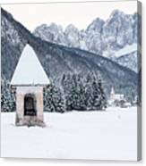 Idyllic Landscapes Immersed In The Snow. The Dream Of The Julian Alps And Valbruna Canvas Print