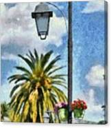 Lampost With Flowers In Nafplio Town Canvas Print