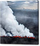 Lava And Plumes From The Holuhraun Canvas Print