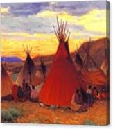 lrs Sharp Joseph Henry Evening Crow Reservation Joseph Henry Sharp Canvas Print