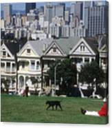 Man And Dog In Alamo Square In San Francisco Canvas Print
