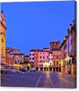 Mantova City Piazza Delle Erbe Evening View Panorama Canvas Print