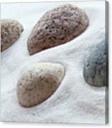 Meditation Stones On White Sand Canvas Print