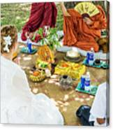 Monks Blessing Buddhist Wedding Ceremony In Cambodia Canvas Print