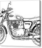 Motorcycle Art, Black And White Canvas Print
