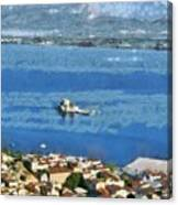 Nafplio Town And Bourtzi Fortress Canvas Print