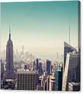 New York Manhattan Skyline At Sunset Canvas Print