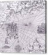Part Of Captain J Smith's Map Of New England Canvas Print