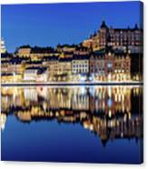Perfect Sodermalm And Mariaberget Blue Hour Reflection Canvas Print