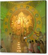 Priest Praying To Goddess Durga Durga Puja Festival Kolkata India Canvas Print