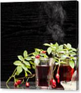 Rosehip Tea With Lemon In Glass Canvas Print