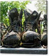 Row Of Old Leather Worn Out Shoes  Canvas Print