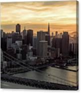 San Francisco City Skyline At Sunset Aerial Canvas Print