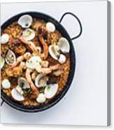 Seafood And Rice Paella Traditional Spanish Food Canvas Print