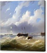Ships On A Stormy Sea Canvas Print