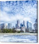 Snow And Ice Covered City And Streets Of Charlotte Nc Usa Canvas Print