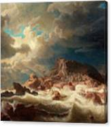 Stormy Sea With Ship Wreck Canvas Print