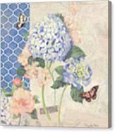 Summer Memories - Blue Hydrangea N Butterflies Canvas Print