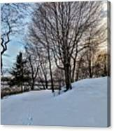 Sunset Over Obear Park In Snow Canvas Print