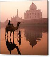 Taj Mahal At Dawn Canvas Print