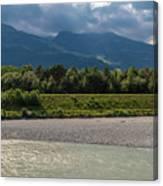 The River Rhine Between Liechtenstien And Switzerland Canvas Print