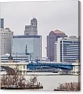 Toledo Ohio City Skyline And Bridges Around Downtown Canvas Print