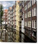 Traditional Canal Houses In Amsterdam. Netherlands. Europe Canvas Print