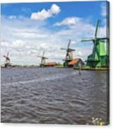 Traditional Dutch Windmills At Zaanse Schans, Amsterdam Canvas Print