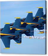 U S Navy Blue Angeles, Formation Flying, Smoke On Canvas Print