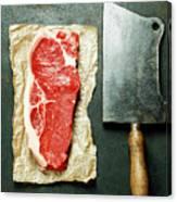 Vintage Cleaver And Raw Beef Steak Canvas Print