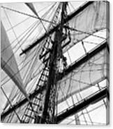 Vintage Style Picture Of Beautiful Sail Boat Details. Rope, Hull Canvas Print