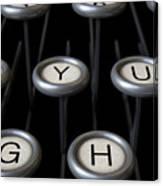 Vintage Typewriter Keys Close Up Canvas Print
