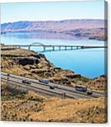 Wanapum Lake Colombia River Wild Horses Monument And Canyons Canvas Print