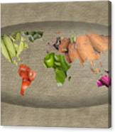 World Fruits Vegetables Map Canvas Print