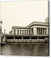 30th Street Station From The River Walk In Sepia Canvas Print