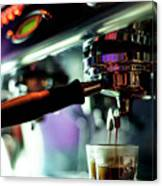 Making Espresso Coffee Close Up Detail With Modern Machine Canvas Print