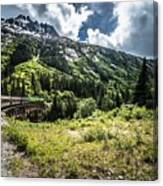 The White Pass And Yukon Route On Train Passing Through Vast Lan Canvas Print
