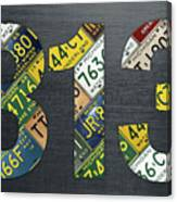 313 Area Code Detroit Michigan Recycled Vintage License Plate Art Canvas Print