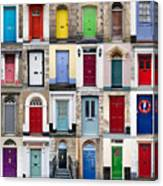32 Front Doors Horizontal Collage  Canvas Print