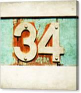 34 On Weathered Aqua Canvas Print