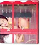 351943 Closed Eyes Asian Women Model Canvas Print